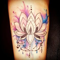 #Lotus #Mandala #Watercolor #arm #tattoo