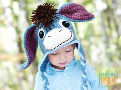 One day, I'll crochet this for my child! I've always loved Eeyore, and this is so cute! Ravelry: Funky Donkey Hat with Tail - Crochet PDF Pattern pattern by Ira Rott Crochet Animal Hats, Crochet Baby Hats, Crochet Beanie, Crochet For Kids, Knit Crochet, Free Crochet, Earflap Beanie, Half Double Crochet, Single Crochet