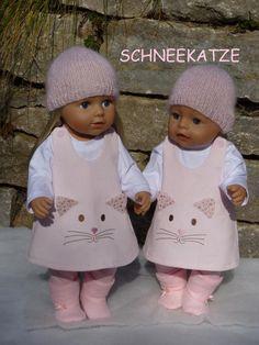 Puppenkleidung Gr.40-45cm 5tlg Set z.B. für Babyborn /-Sister  43cm Puppenkleid rosa Katze Feincord Puppenstiefel Strickmütze Shirt Hose