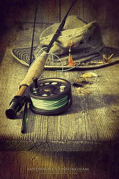 Fly Fishing Equipment With Old Hat On Bench by Sandra Cunnin.-Fly Fishing Equipment With Old Hat On Bench by Sandra Cunningham Fly Fishing Equipment…Well unless you need to have a vest that has every imaginable fly in it! Fly Fishing Equipment, Fly Fishing Gear, Gone Fishing, Best Fishing, Fishing Reels, Fishing Lures, Fishing Apparel, Fishing Jacket, Fishing And Hunting