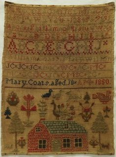 EARLY 19TH CENTURY RED HOUSE & ALPHABET SAMPLER BY MARY COATS - AGED 10 - 1850