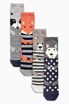 Navy Mix Woodland Animals Ankle Socks Four Pack