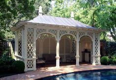 🌟Tante S!fr@ loves this📌🌟It's nice to have a shady retreat when relaxing poolside — whether it's an elegant pool house, antique ruins amidst a canopy of trees, a playful tent or a striped awning coming of… Outdoor Areas, Outdoor Rooms, Outdoor Living, Garden Structures, Outdoor Structures, Gazebo Pergola, Pergola Kits, Pergola Ideas, Pool Cabana