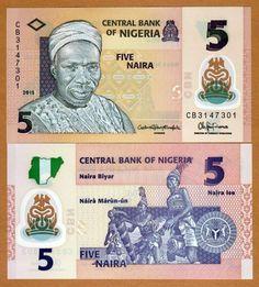 NIGERIA CEDULA DE 5 NAIRA POLIMERO 2015 FLOR DE ESTAMPA FE (274)