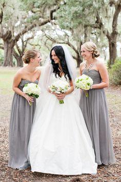 Long, gray bridesmaid dresses