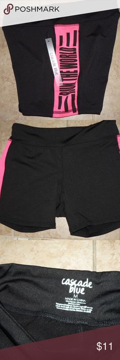 """NWT RUN THE WORLD Shorts Womens M Hot Pink Yoga New with tags....By: CASCADE BLUE  """"RUN THE WORLD"""" Black & Hot Pink Sculpting Running Shorts Ladies Size: M Waist-30"""" up to 34"""" Around (Dri-fit/Poly/Spandex Blend) Cascade Blue Shorts"""