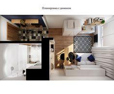 Въпреки оскъдните си размери, интериорният проект предвижда в жилището да се разположат всекидневна с телевизор, кухня, трапезария, работен кът и баня с вана.
