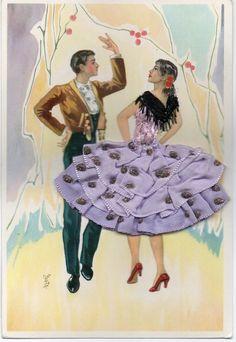 Vintage Spanish flamenco postcard