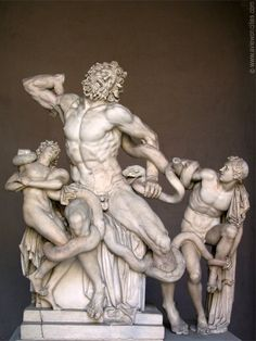 Laocoon and his Sons is a great example of Hellenistic sculpture - twisting, curving, dynamic lines, movement, carved musculature, projection of emotion