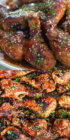 This easy Korean BBQ Chicken is bright, flavorful, and has a kick of spice. Paired with an irresistibly delicious sauce that can be doubled as a marinade, this recipe is sure to become a staple at your dinner table. Chicken Drumstick Recipes, Chicken Thigh Recipes, Grilled Chicken Recipes, Korean Bbq Chicken Wings Recipe, Healthy Chicken, Korean Chicken Marinade, Chicken Drumstick Marinade, Grilled Chicken Legs, Korean Bbq Sauce