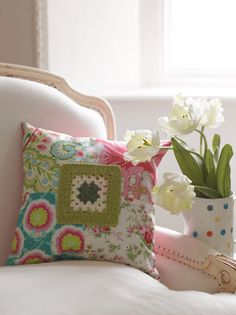 Granny Square Patch Cushion Project