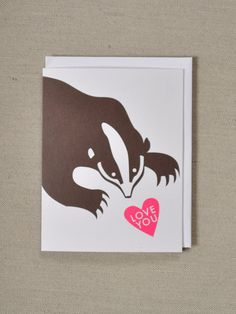 Banquet Atelier & Workshop — Pink and Brown Valentines card - Badger with Love You message