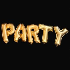 PARTY Mylar Balloons in Metallic Gold 17in. Tall