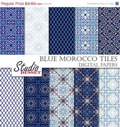 40 OFF Blue Mosaic Tiles Morocco Papers Bohemian by StudioDesset, $2.16