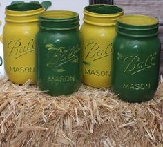 4 Piece Distressed Hand Painted - John Deere Colors Hand Painted Distressed Pint Ball Mason Jars Country Wedding Farmer Baby Shower