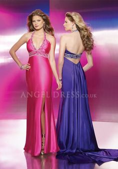 Halter Elastic Silk Like Satin Sheath/ Column Empire Floor Length Sleeveless Evening Dresses