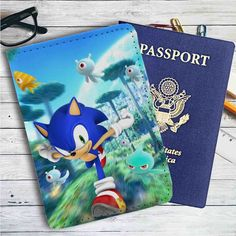 Sonic the Hedgehog Running Leather Passport Wallet Case Cover