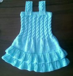 Baby Knit Dress Patterns – Knitting And We Baby Dress Patterns, Baby Knitting Patterns, Free Knitting, Girls Knitted Dress, Knit Baby Dress, Crochet For Kids, Crochet Baby, Knit Crochet, Knit World