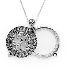 Elegant Tree Of Life Filigree Antiqued Silver Tone Glass Magnifier Pendant Necklace. Read more description on the website.