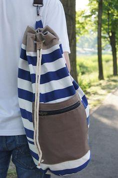 SAILOR BAG/ backpack. Striped marine sturdy cotton fabric sailor bag. Summer bag for men.Sports bag.Gym bag. Extra handle for easy clean on Etsy, 49,00 $