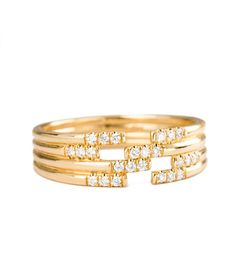 Stacked Diamond Cuff Ring - Audry Rose
