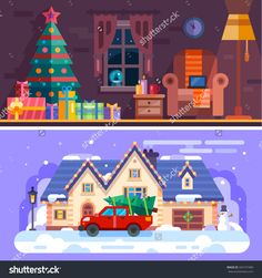 Nice cozy xmas interior with armchair, gifts and xmas tree. Winter landscape: snow covered house with car staying in front of it with fir on roof. Flat vector stock illustration.