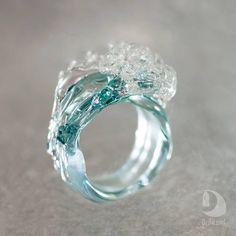Wave Jewelry Glass Jewelry by DriftLand Beach Jewelry, Cute Jewelry, Jewelry Accessories, Jewelry Design, Unique Jewelry, Ocean Jewelry, Resin Jewelry, Glass Jewelry, Glass Ring