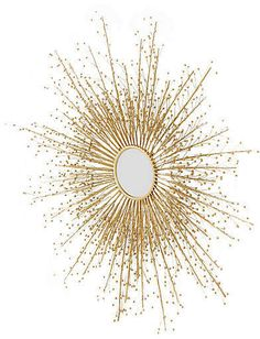 Global Views Berries Sunburst Mirror - Brass