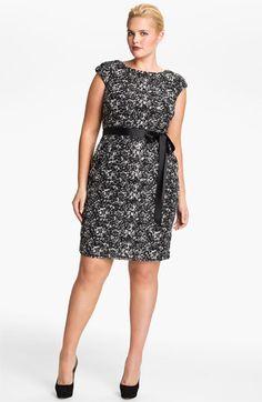 c89859785d2 Alex Evenings Cap Sleeve Lace Sheath Dress (Plus) available at  Nordstrom  Black Dress