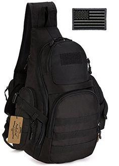 ArcEnCiel Tactical Sling Pack Backpack Military Shoulder Chest Bag with  Patch Rucksack Bag, Men s Backpack 44398aa6bc