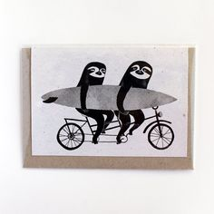 Tandem sloths card, bicycle, cycling sloth greeting card by SurfingSloth on Etsy Tree Wall Art, Wall Art Decor, Sloth Drawing, Surf Drawing, Surf Art, Illustrations And Posters, Tandem, Surfing, Illustration Art