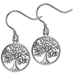 Ohrringe Lebensbaum Baum des Lebens 925er Sterling Silber rhodiniert Durchmesser ca 1,4cm Verpackt in einer stabilen schwarz-weißen Geschenkschachtel mit schwarzer samtiger Einlage - fertig als Geschenk!   ...