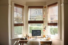 Desk in front of Bay Window: Bays Windows Desks, Homes Offices ...
