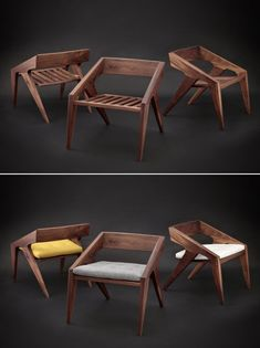 California-based designer and builder Jory Brigham builds amazing mid-century modern furniture fused with new-fashioned creativity. Recently, he collaborated with the famous woodworker Marc Spagnuolo of Wood Whisperer for the Hank Chair you would love to own. This project was made for the Wood Whisperer Guild. Natural Wood Furniture, Dark Furniture, Luxury Furniture, Wood Chair Design, Furniture Design, Chair Bench, Mid Century Modern Furniture, Home Furnishings, House