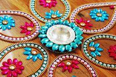 Rangoli floor art   Big Pan  Blue & Pink   set of 7 by Nirman, $28.00