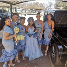 The Bride and her Squad. Zulu Traditional Wedding Dresses, Sotho Traditional Dresses, Zulu Traditional Attire, South African Traditional Dresses, Traditional Dresses Designs, Traditional Outfits, African Party Dresses, African Bridesmaid Dresses, African Fashion Skirts