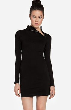 DAILYLOOK Zip Collar Mini Dress in Black XS - L | DAILYLOOK