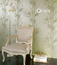 Non Woven Wallpaper Bamboo Green. Collection Metropolitan Origin