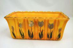 Tulip Decorated Pumpkin Orange Akro Agate 653 Rectangular Glass Planter.