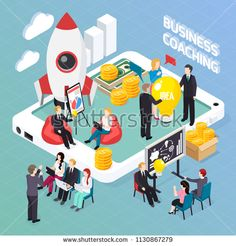 Business coaching isometric composition, creative idea discussion for start up project, mentoring and personnel training vector illustration Illustration , Marketing Na Internet, Marketing Viral, Illustration Story, People Illustration, Start Up Business, Business Coaching, Doodle Background, Isometric Design, Hosting Company