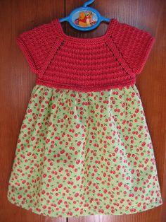 knit bodice with fabric skirt Crochet Yoke, Crochet Fabric, Crochet Girls, Crochet For Kids, Ravelry Free Patterns, Knitting Patterns Free, Baby Girl Patterns, Sewing Patterns For Kids, Knitting For Kids