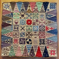 "Tiny Dear Jane quilt: each triangle is about 2"" tall. April 2013, Pour l'Amour du Fil, Nantes (France); photo by La Boite de Biscotte"