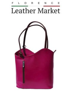 Florence Leather Market Italian Handmade Leather Convertible Shoulder Bag Backpack In Fuchsia Backpack Bags, Tote Bag, Florence Italy, Handmade Leather, Italian Leather, Convertible, Fashion Accessories, Backpacks, Shoulder Bag
