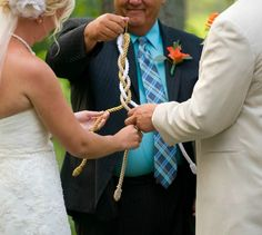 DIY God's Knot Cord of Three Strands.  You could easily make this and save big money! You could also personalize the cords to your wedding colors.