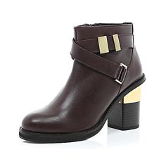 Dark red leather cross strap block heel boots - shoes / boots - sale - women