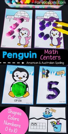 Penguin math centers for kids in preschool and kindergarten. Includes color/ colour matching activities, shape playdough mats, number mats and number sense puzzles. Great for developing fine motor skills too. Geometry Activities, Fun Math Activities, Hands On Activities, Preschool Activities, Math Games, January Preschool Themes, Preschool Special Education, Penguin Coloring, Polar Animals