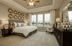 Transitional Master Bedroom with Design House LLC Bullseye Gold Leaf 6-Inch Round Mirror, High ceiling, Ceiling fan, Carpet