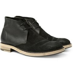 Acne Pedro Leather and Burnished-Suede Desert Boots