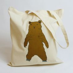 Brown bear cotton bag/ tote bag/ cotton bag/ by KitschAttic