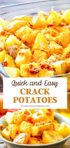Crack Potatoes are always a hit with the family! You only need 5 ingredients to make this quick and easy recipe. Tender potatoes are… Easy Potato Recipes, Side Dish Recipes, Easy Healthy Recipes, Quick Easy Meals, Easy Dinner Recipes, Breakfast Recipes, Yummy Recipes, Healthy Snacks, Chicken Recipes
